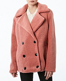 Juniors' Double-Breasted Faux-Fur Teddy Coat, Created for Macy's