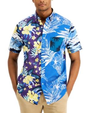 Men's Regular-Fit Pieced Tropical-Print Shirt