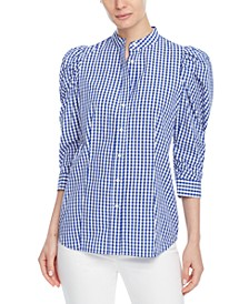 Cotton Check Puff-Sleeve Blouse