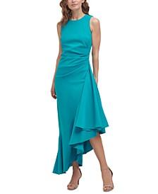 Asymmetrical-Ruffle Midi Dress