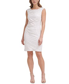 Cap-Sleeve Sequined Sheath Dress