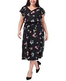 Plus Size Floral-Print Flutter-Sleeve Midi Dress