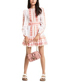 Multicolored Embroidered Eyelet Dress