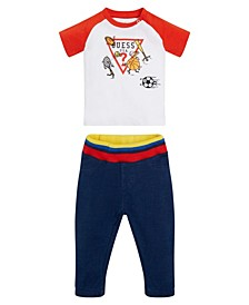Baby Boys Printed and Embroidered Logo T-shirt and Knit Denim Jogger Set, 2 Piece