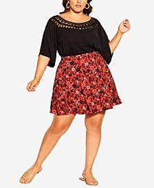 Plus Size Island Ditsy Skirt
