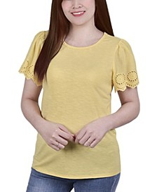 Women's Short Eyelet-Cut-out Sleeve Scoop Neck Top