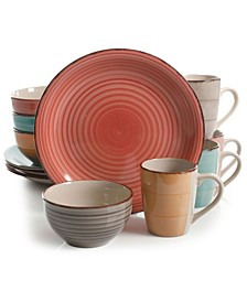 Color Vibes Pastel Mix and Match Stoneware Dinnerware Set, 12 piece