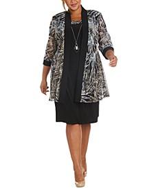 Plus Size 2-Pc. Printed Jacket & Necklace Dress Set