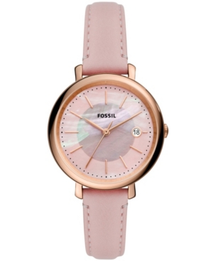 FOSSIL WOMEN'S JAQUELINE PINK LEATHER STRAP WATCH, 36MM