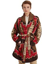 Petite Western-Print Intarsia-Knit Cardigan