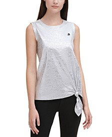 Foiled Tie-Front Tank Top