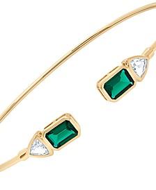 Emerald (1-1/5 ct. t.w.) & White Topaz (5/8 ct. t.w.) Cuff Bangle Bracelet in 14k Gold