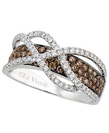 Le Vian Chocolate and White Diamond Crossover Ring in 14k White Gold  (1-1/10 ct. t.w.)