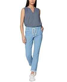 Cotton Drawstring Cuffed-Hem Pants