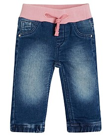 Baby Girls Knit Denim Pull-On Jogger