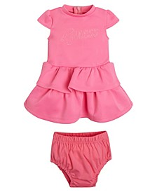 Baby Girls Embroidered Logo Light Weight Scuba Knit Dress and Diaper Cover Set