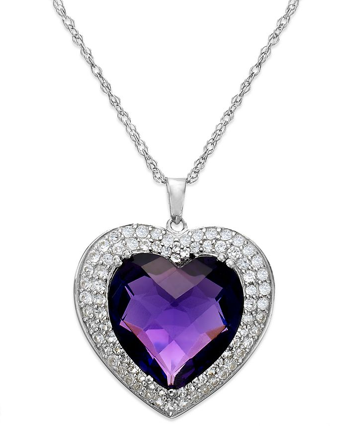 Macy's - Amethyst (7-1/3 ct. t.w.) and White Topaz (5/8 ct. t.w.) Heart Pendant Necklace in Sterling Silver