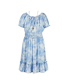 Big Girls Short Sleeve Print Smocked Waist Peasant Dress