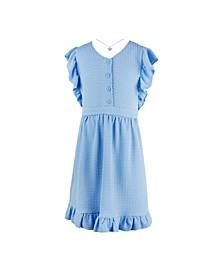 Big Girls Flutter Sleeve Button Front Dress