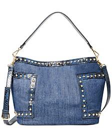 Denim Studded Bucket Bag