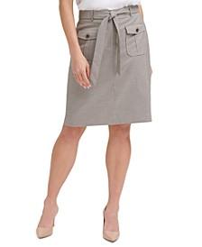 Glen Plaid Belted Skirt