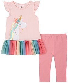 Little Girls 2-Piece Rainbow Peplum Tunic Top and Capri Leggings Set