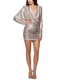 Metallic Ruched Bodycon Dress