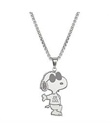 "Stainless Steel ""Joe Cool"" Men's Snoopy Pendant, 24"""