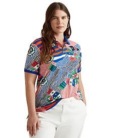Plus-Size Print Piqué Polo Shirt