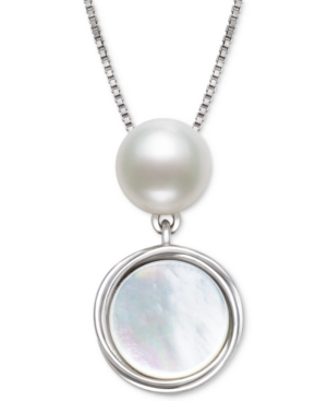 """Cultured Freshwater Pearl (7mm) & Mother-of-Pearl Disc 18"""" Pendant Necklace in Sterling Silver"""