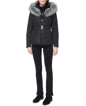 Juniors' Faux-Fur-Trim Hooded Belted Puffer Coat
