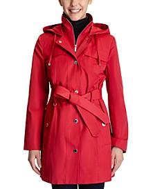 Petite Hooded Belted Raincoat