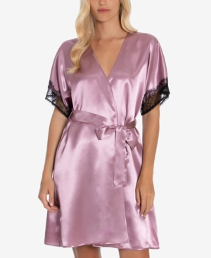 Max Paisley Solid Charmeuse Satin Wrapper Robe