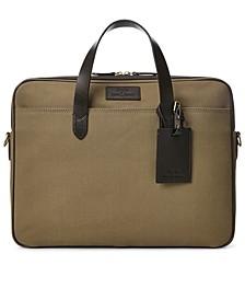 Men's Leather-Trim Canvas Briefcase