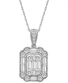 """Diamond Baguette Cluster Pendant Necklace (1 ct. t.w.) in 14k White Gold or 14k Yellow Gold, 16"""" + 4"""" extender, Created for Macy's"""