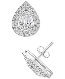 Diamond Teardrop Halo Stud Earrings (1 ct. t.w.) in 14k White Gold or 14k Yellow Gold, Created for Macy's
