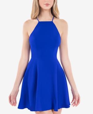 Juniors' Lace-Back A-Line Dress