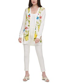Long Floral-Front Cardigan