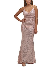 Sequined Ruched Mermaid Gown