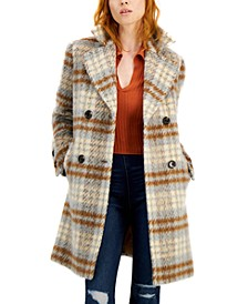 Plaid Double-Breasted Coat, Created for Macy's