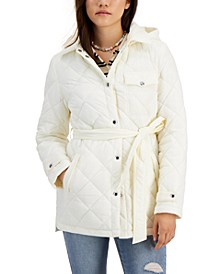Hooded Quilted Belted Coat