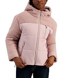 Juniors' Faux-Sherpa Teddy Puffer Coat