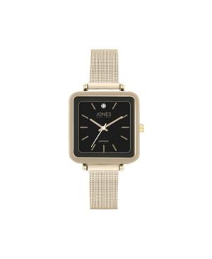 Jones New York Women's Genuine Diamond Square Gold-Tone Case Black Strap Analog Watch 26mm