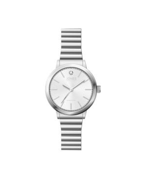 Jones New York Women's Genuine Diamond White Dial Silver-Tone Metal Narrow Bracelet Analog Watch 28mm