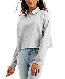 Juniors' Cropped Fleece Polo Shirt