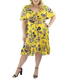 Plus Size Cascade Ruffle Front V-Neck Dress