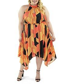 Plus Size Halter Printed Handkerchief Dress