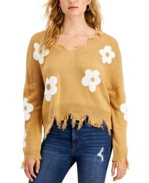 Juniors' Distressed Flower Sweater