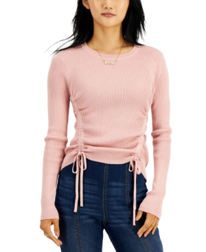 Juniors' Ruched-Sides Ribbed Sweater