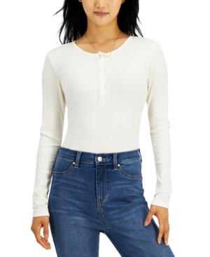 Juniors' Long-Sleeved Henley Bodysuit
